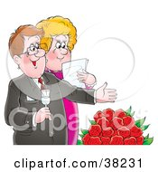 Clipart Illustration Of A Happy Mature Couple Shedding Tears Over Red Roses by Alex Bannykh