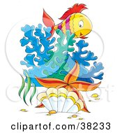 Clipart Illustration Of A Starfish Shell Coral And Fish In The Sea by Alex Bannykh