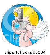 Clipart Illustration Of Cupid Taking Pictures With A Camera With A Blue Circle