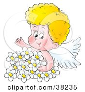 Clipart Illustration Of A Blond Angel Surrounded By White Daisies