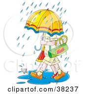 Clipart Illustration Of Badminton Players Walking Under An Umbrella In The Rain by Alex Bannykh