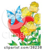 Clipart Illustration Of A Blue Butterfly With A Red Heart And Yellow Roses