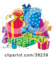 Clipart Illustration Of A Cluster Of Colorful Wedding Or Birthday Gifts