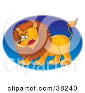 Mad Male Lion Facing Left Over A Blue Oval