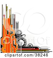 Clipart Illustration Of An Abstract Black Orange And Red Background With Circles Lines And Dots Over White