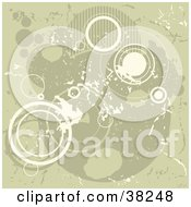 Clipart Illustration Of A Tan And White Grunge Background Of Patterned And Outlines Of Circles