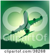 Clipart Illustration Of A Commercial Airliner Flying Upwards Over Trees In Green Tones by dero