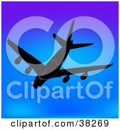 Clipart Illustration Of A Commercial Plane Flying Away In A Blue Sky