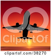 Clipart Illustration Of A Commercial Airliner Flying Upwards Against An Orange Sunset