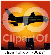 Clipart Illustration Of An Airplane Flying Above City Skyscrapers At Sunset