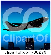 Clipart Illustration Of A Plane Flying Above City Skyscrapers In A Blue Sky
