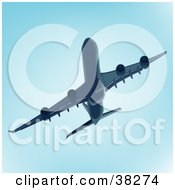 Clipart Illustration Of A Jumbo Jet In Blue Tones by dero