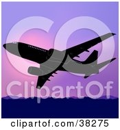 Clipart Illustration Of A Commercial Airplane Flying Above Mountains Against A Purple Sunset