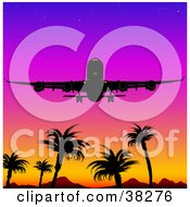 Clipart Illustration Of A Silhouetted Airplane Flying Above Mountains And Palm Trees Against A Colorful Sunset Sky