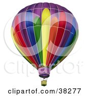 Clipart Illustration Of A Rainbow Colored Hot Air Balloon With An Empty Basket by dero