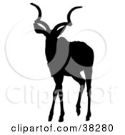 Clipart Illustration Of A Black Silhouette Of An Alert Antelope With Curly Antlers