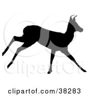 Clipart Illustration Of A Black Silhouette Of A Running Antelope