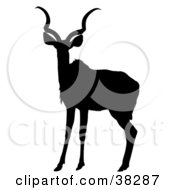 Clipart Illustration Of A Black Silhouetted Antelope by dero