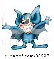 Grinning Blue Bat Spanning His Wings