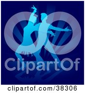 Clipart Illustration Of A Gradient Blue Silhouetted Man And Woman Dancing The Rumba On A Bursting Background