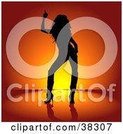 Black Silhouetted Rocker Chick In Heeled Boots Dancing Over A Red And Orange Background