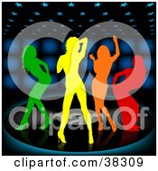 Four Colorful Silhouetted Women Dancing On A Large Vinyl Record Over A Black Background With Blue Lights