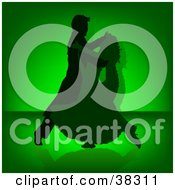 Clipart Illustration Of An Elegant Silhouetted Couple Dancing The Tango Or Waltz On A Green Background