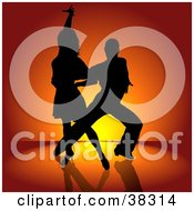 Clipart Illustration Of A Sexy Black Silhouetted Couple Engaged In A Latin Dance by dero #COLLC38314-0053