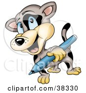 Clipart Illustration Of A Spotted Cat Carrying A Blue Marker by dero