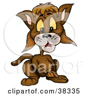Clipart Illustration Of A Brown Cat Clasping His Hands by dero