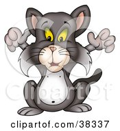 Clipart Illustration Of A Gray Cat Holding His Front Arms Up by dero