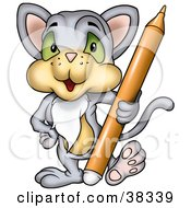 Clipart Illustration Of A Gray Cat Standing With An Orange Marker by dero