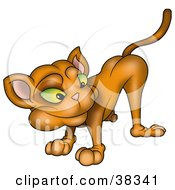 Clipart Illustration Of A Green Eyed Brown Cat Looking Back by dero