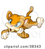 Clipart Illustration Of A Brown Blue Eyed Cat Laying On Its Belly by dero