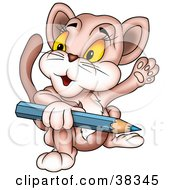 Clipart Illustration Of A Friendly Cat Holding A Blue Color Pencil And Waving