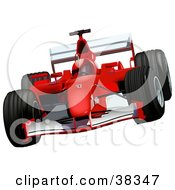 Clipart Illustration Of A Driver In A Helmet Racing A Red Ferrari F2002 Race Car by dero