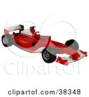 Clipart Illustration Of A Red And White Ferrari F2004 by dero