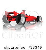 Clipart Illustration Of A Red Ferrari F1 Race Car On A Reflective White Surface by dero