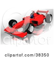 Driver In A Red Ferrari F1 Race Car On A Reflective Surface