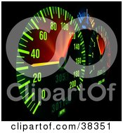 Clipart Illustration Of An Illuminated Dash Board Panel
