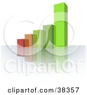 Clipart Illustration Of A Red Brown And Green Glass Bar Graph On A Reflective Surface by dero
