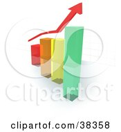 Clipart Illustration Of A Red Arrow Above A Colorful Glass Bar Graph With A Faint Grid