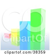 Clipart Illustration Of A Vibrant Pink Yellow Blue And Green Glass Bar Graph On A Reflective Surface