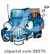 Clipart Illustration Of A Vintage Blue Convertible Car Character With Smoke Emerging From The Exhaust