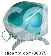 Clipart Illustration Of A Bulky Blue Computer Monitor by dero