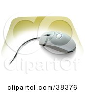 Clipart Illustration Of A Scroll Computer Mouse On A Yellow Mousepad by dero