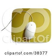 Clipart Illustration Of A White MAC Computer Mouse On A Yellow Mousepad