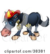Clipart Illustration Of A Cool Black Horse Wearing Bling And A Hat by dero