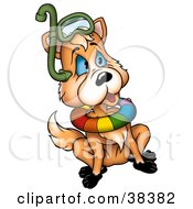 Clipart Illustration Of A Sitting Fox Wearing Diving Gear by dero