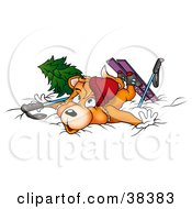 Clipart Illustration Of A Clumsy Skiing Fox Collapsed In Snow by dero